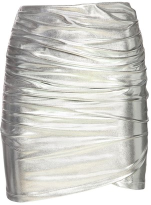 The Andamane Diva Draped Metallic Jersey Mini Skirt