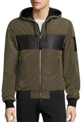 Mackage Weston Leather-Trimmed Bomber Jacket