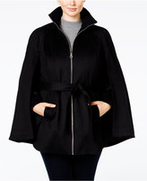 Laundry by Shelli Segal Plus Size Zipper-Front Belted Cape Coat, Only at Macy's