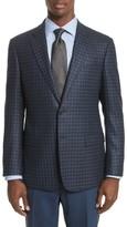 Armani Collezioni Men's G-Line Trim Fit Check Silk & Wool Sport Coat