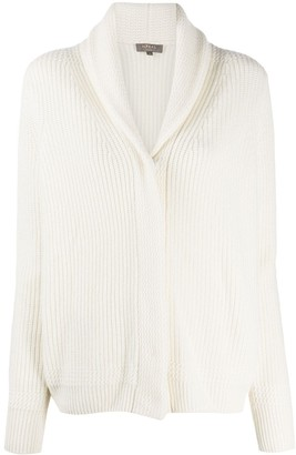 N.Peal Ribbed Cashmere Cardigan With Shawl Collar