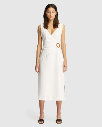 FRIEND of AUDREY - Women's White Midi Dresses - Lyly Linen Wrap Dress - Size One Size, 6 at The Iconic