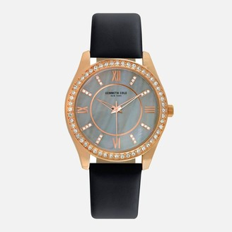 Kenneth Cole Rose Gold Black Leather Watch with Crystal Halo Bezel