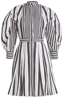 Alexander McQueen Striped Puff-Sleeve Poplin Dress