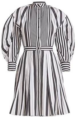 Alexander McQueen Striped Puff-Sleeve Poplin Dress
