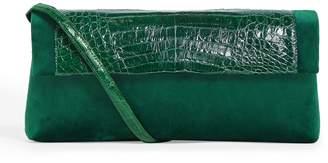 Nancy Gonzalez Velvet Crocodile-Trim Gotham Clutch Bag