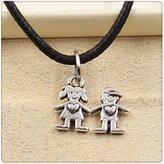 Nobrand No brand Fashion Tibetan Silver Pendant lover Necklace Choker Charm Black Leather Cord Handmade Jewlery