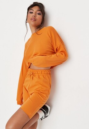 Missguided Orange Crop Sweatshirt And Drawstring Shorts Co Ord Set