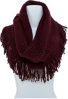 TD Collections Women's Mixed Knit Fringed Infinity Scarf