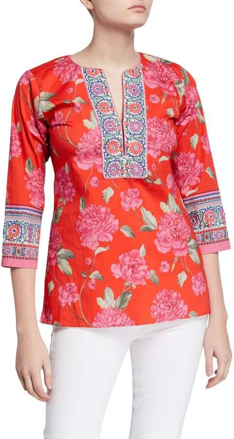 Bella Tu Peony Print Stretch Cotton 3/4-Sleeve Border Tunic