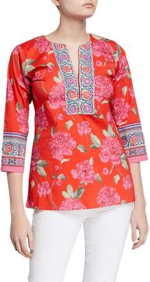 Bella Tu Peony Print Stretch Cotton 3/4-Sleeve Border Tunic