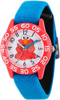 Sesame Street Boys Blue And White Elmo Time Teacher Strap Watch W003198