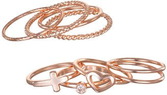Lauren Conrad Stackable Heart Motif Regular & Midi Ring Set