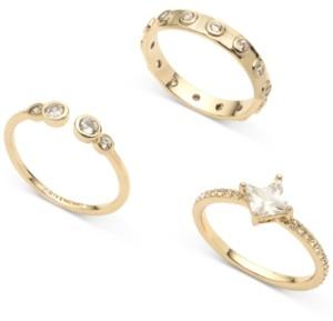 Givenchy Gold-Tone 3-Pc. Set Crystal Rings