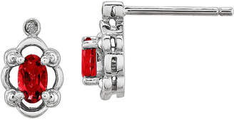 FINE JEWELRY Diamond Accent & Oval Lab Created Ruby Sterling Silver Stud Earrings