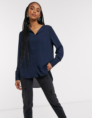 Selected button front blouse in dark blue