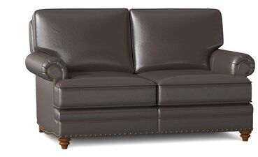 """Thumbnail for your product : Bradington-Young Carrado 64.5"""" Genuine Leather Rolled Arm Loveseat Body Fabric: Outsider Raven, Leg Color: Stone, Nailhead Detail: #9 & #54 French Nat"""