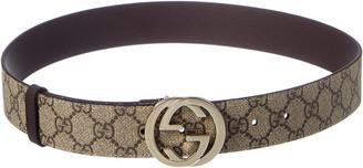 Gucci Gg Supreme Canvas & Leather Belt