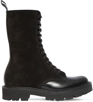 Grenson 30mm Bev Brushed Leather & Suede Boots