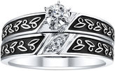 JCPenney FINE JEWELRY 1/8 CT. T.W. Diamond Leaf-Detail Bridal Ring Set