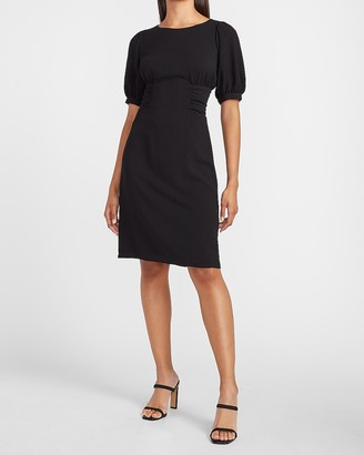 Express Cinched Waist Puff Sleeve Sheath Dress