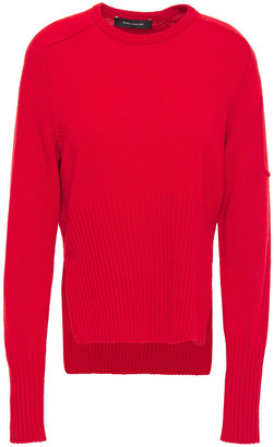 Cédric Charlier Ribbed Knit-paneled Wool Sweater