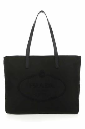 Prada Logo Embroidered Tote Bag