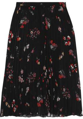 RED Valentino Pleated Floral-print Chiffon Skirt