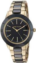 Anne Klein Women's AK/3160BKGB Gold-Tone and Black Ceramic Bracelet Watch