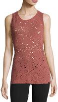 Koral Activewear Chord Open-Back Distressed Top, Medium Pink
