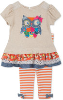 Rare Editions Baby Girls' 2-Pc. Owl Top & Leggings Set