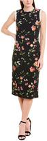 Jason Wu Floral Silk-Trim Wool-Blend Midi Dress