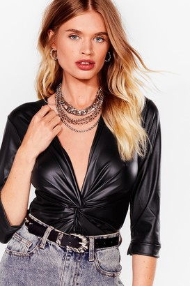 Nasty Gal Womens Faux Leather Tell a Soul Plunging Twist Bodysuit - Black