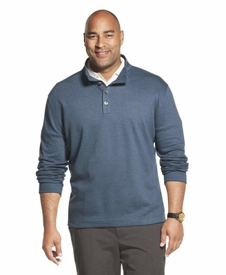Van Heusen Men's Tall Long Sleeve Never Tuck Jaspe Button Mock Pullover