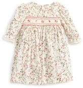 Luli & Me Infant Girl's Floral Print Plumetis Smocked Dress