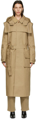Nanushka Khaki Malon Hooded Trench Coat
