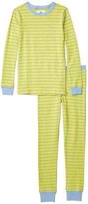 crewcuts by J.Crew Neon Stripe Long Sleeve Sleep Set (Toddler/Little Kids/Big Kids) (Grey Kiwi) Boy's Pajama Sets