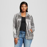 Ava & Viv Women's Plus Size Pleated Metallic Bomber Jacket