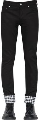 Alexander McQueen 18cm Slim Denim Jeans W/ Houndstooth