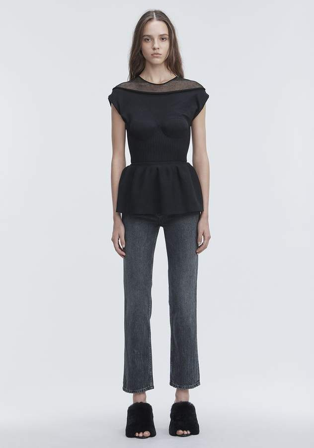 Alexander Wang PEPLUM TANK WITH MOLDED CUPS TOP