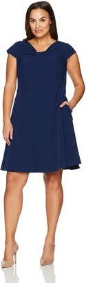 Adrianna Papell Women's Plus-Size Stretch Crepe Drape Neck Dress Plus