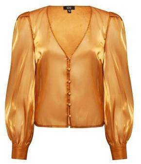 Dorothy Perkins Womens **Lola Skye Gold Organza Blouse, Gold