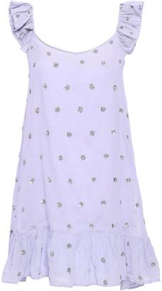 SUNDRESS Pompom-embellished Cotton-blend Poplin Mini Beach Dress
