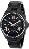 Fossil Women's AM4522 Cecile Crystal-Accented Black Stainless Steel Watch