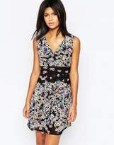 Yumi Wrap Front Dress In Tropical Floral Border Print