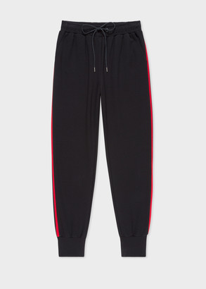 Paul Smith Women's Black Sweatpants With Red Stripe Trims