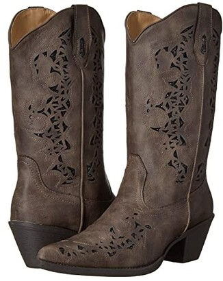 Roper American Patriot (Brown Vintage Faux Leather w/ Flag Shaft) Cowboy Boots