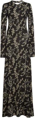 Paco Rabanne Metallic Floral Jacquard Cotton-Blend Gown