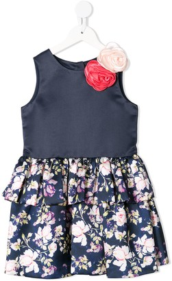 Charabia Floral Applique Tiered Dress