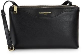 Karl Lagerfeld Paris Doreen Leather Double-Zip Crossbody Bag